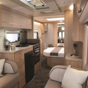 This Elddis Supreme has a fixed bed and seating that can be converted at night to create a 4 berth caravan.